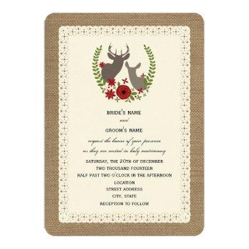burlap + lace inspired christmas wedding deer invitation