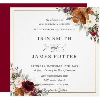 burnt orange ivory burgundy floral wedding square invitation