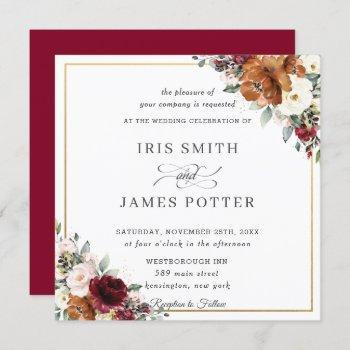 burnt orange ivory burgundy floral wedding square invitation
