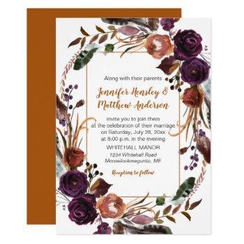 butter rum rust dark purple roses wreath wedding invitation