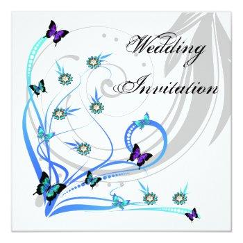 butterflies and gem flower wedding invitation card