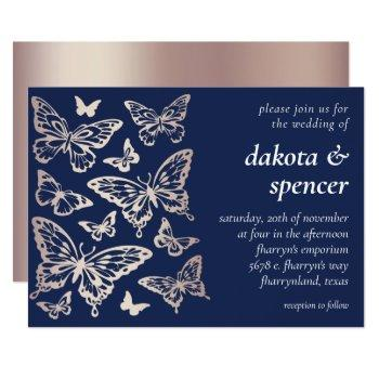 butterfly chic wedding | rose gold and navy blue invitation