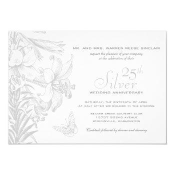 butterfly lilies silver 25th wedding anniversary invitation