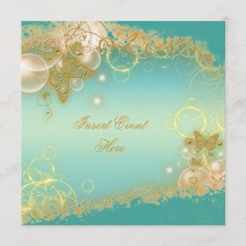 butterfly theme gold teal elegant invitation
