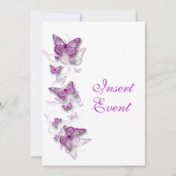 butterfly theme pink white invitation
