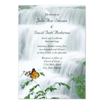 butterfly & waterfall wedding invitation