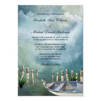 by the sea nautical wedding invitation