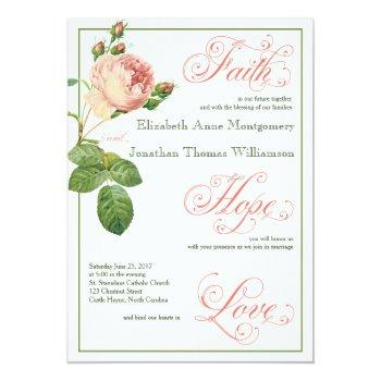 cabbage rose script christian wedding invitation