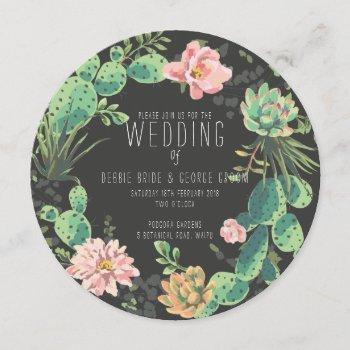 cactus and succulent invitations, wreath wedding invitation