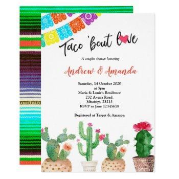 cactus couples wedding shower invitation