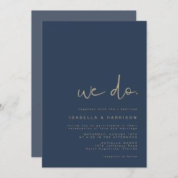 caitlin- navy and gold modern minimalist edgy invitation