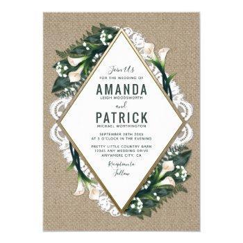 calla lily burlap and lace wedding invitations