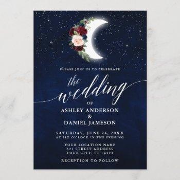 calligraphy celestial wedding floral moon stars invitation