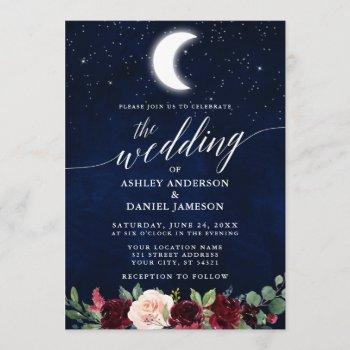 calligraphy celestial wedding moon stars floral invitation