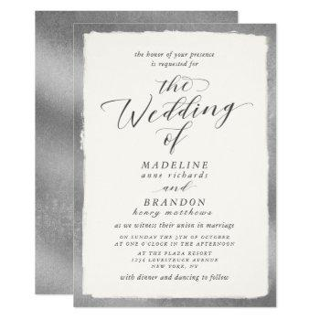 calligraphy with silver edge luxurious wedding invitation