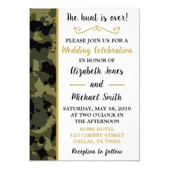 camo - the hunt is over - wedding invitations
