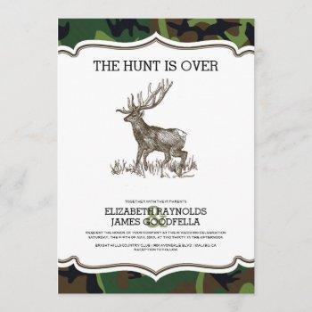 camo the hunt is over wedding invitations
