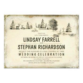 campground illustration camping wedding invitation