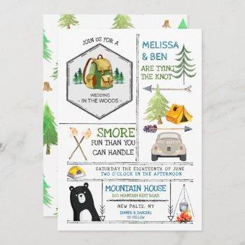 camping themed wedding - badges & icons invitation
