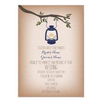 cardstock inspired blue camping lantern wedding invitation
