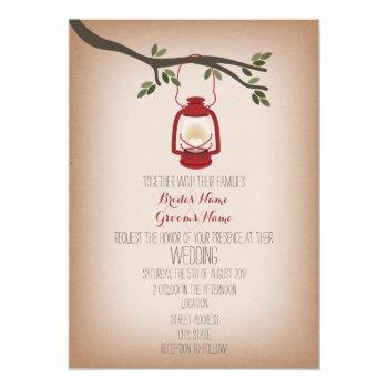 cardstock inspired camping lantern wedding invitation