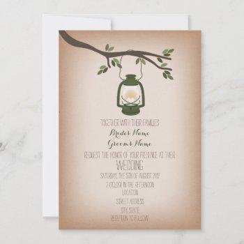 cardstock inspired green camping lantern wedding invitation