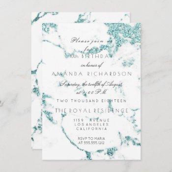 carrara white marble tiffany aqua glitter birthday invitation