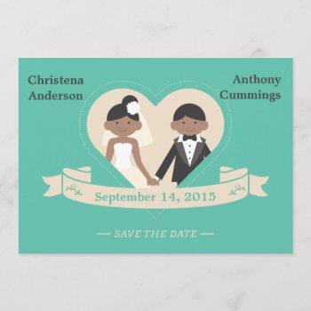 cartoon couple save the date announcement (laa)