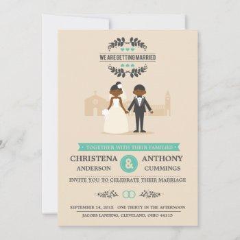 cartoon couple wedding invitation (daa)