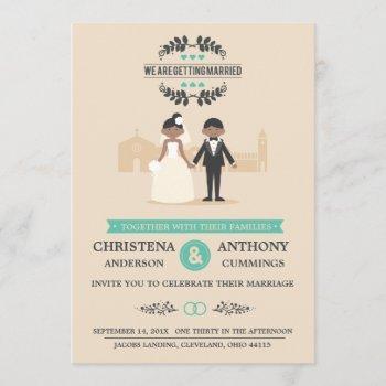 cartoon couple wedding invitation (laa)