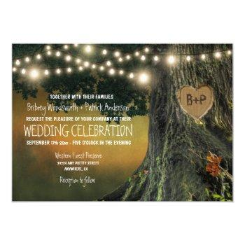 carved grandfather oak tree wedding invitations