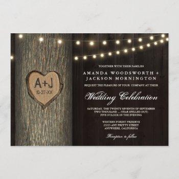 carved initials old oak tree wedding invitations