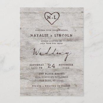carved sweethearts rustic birch monogram wedding invitation