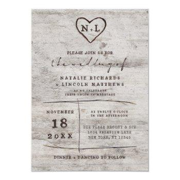 carved sweethearts rustic birch wood wedding invitation