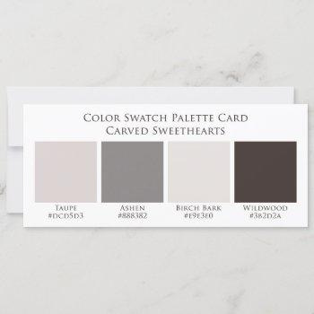 carved wood wedding color swatch palette card