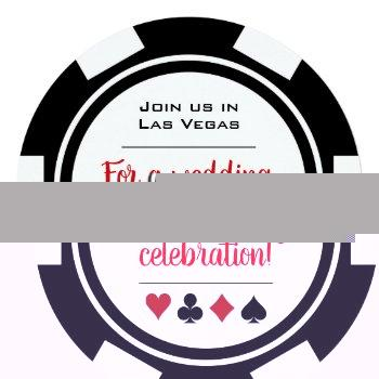 casino poker chip black and white wedding invitation