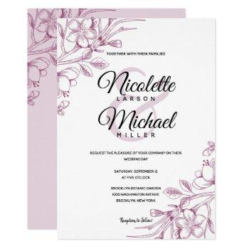 cassis and pink floral wedding invitation