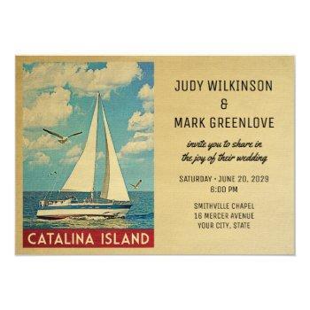 Small Catalina Island Wedding Invitation Sailboat Front View