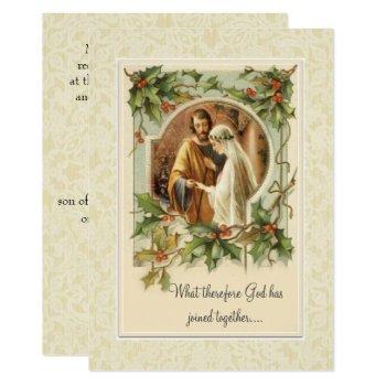 catholic christmas traditional  wedding invitation