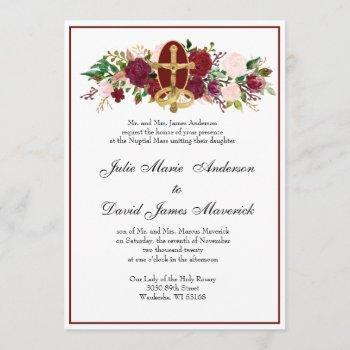 catholic classic elegant religious wedding invitation