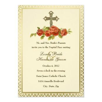 catholic cross vintage roses wedding invitation