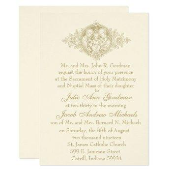 catholic gold holy family nuptial wedding invitation