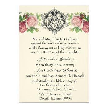 catholic holy family pink roses floral  wedding invitation