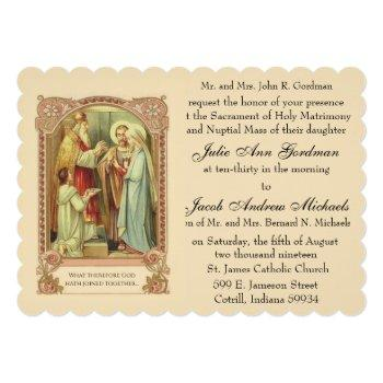 catholic holy family pink roses wedding invitation