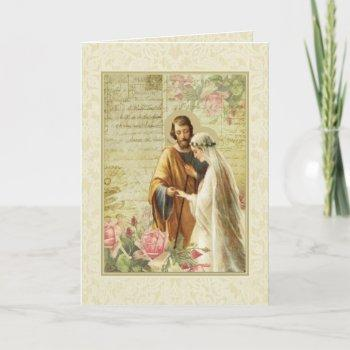 catholic vintage wedding engagement religious card