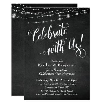 celebrate with us! chalkboard string lights invitation