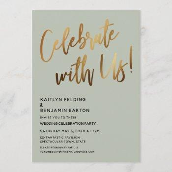 celebrate with us! gold handwriting sage green invitation