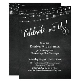 celebrate with us! typography, chalkboard lights invitation