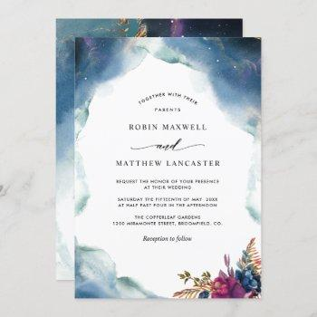 celestial blue, purple and teal watercolor wedding invitation