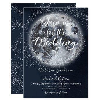 celestial full moon and stars wedding invitations
